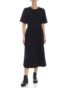 Y-3 Yohji Yamamoto - Belted long dress in black