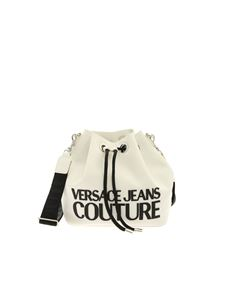Versace Jeans Couture - Glossy-effect bucket bag in white