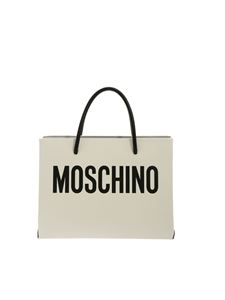 Moschino - Branded handbag in white with black logo