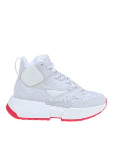 MM6 by Maison Martin Margiela - High sneakers in white suede and fabric