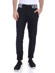 Versace Jeans Couture - Branded waistband trousers in black