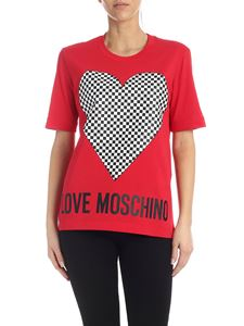 Love Moschino - Checkered Heart T-shirt in red