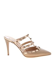 Valentino - Rockstud mules in champagne color