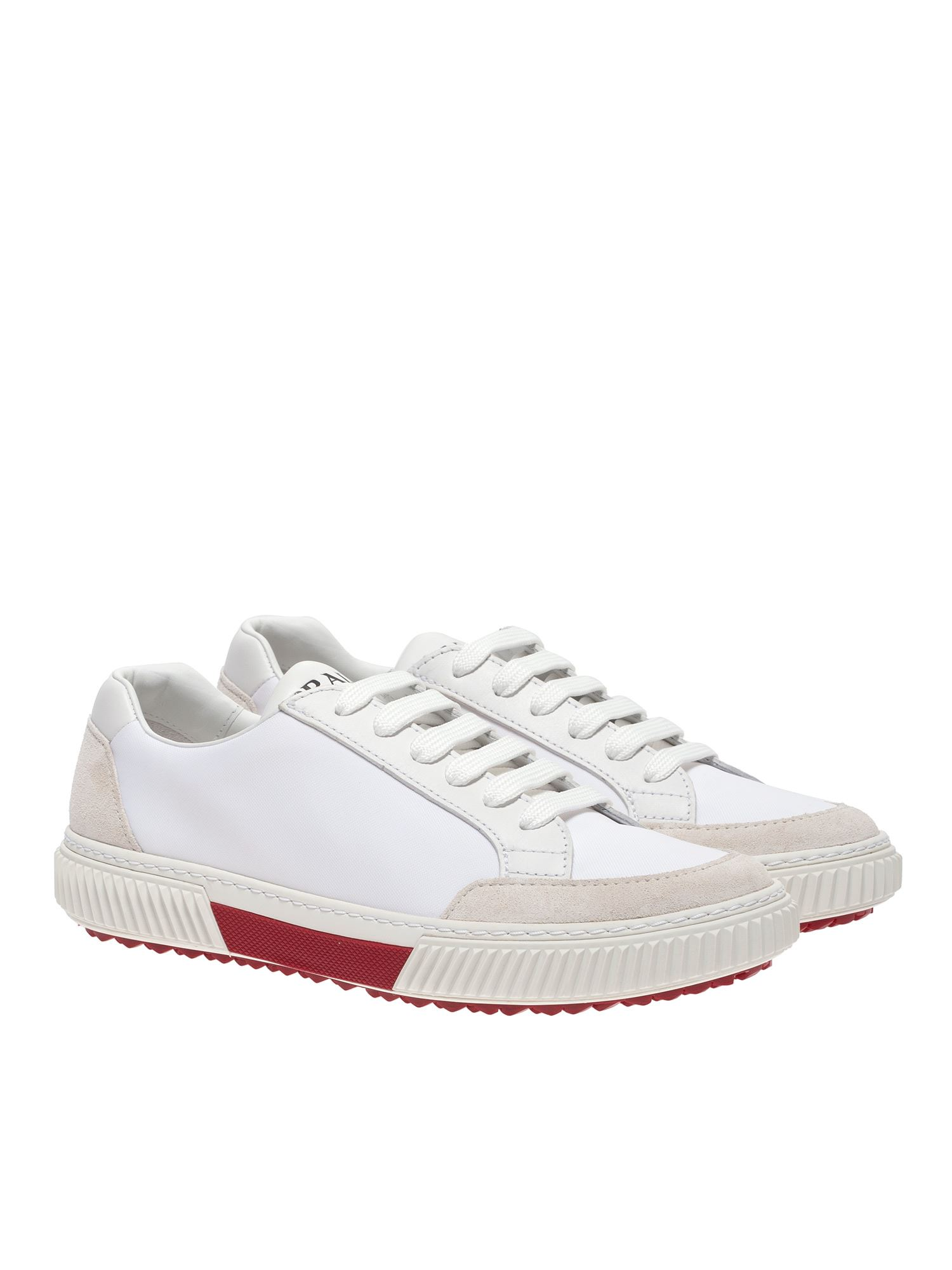Prada Stratus Leather And Suede Sneakers In White