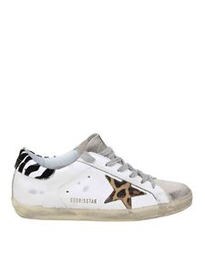 Golden Goose - White Superstar sneakers with animal print details