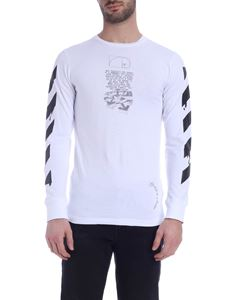 Off-White - T-shirt Dripping Arrows LS bianca