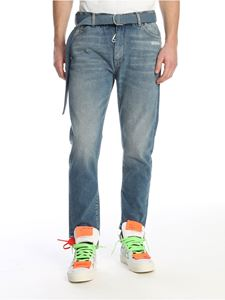 Off-White - Slim fit blue jeans