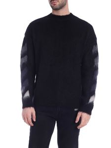 Off-White - Pullover nero con logo Arrow degradè