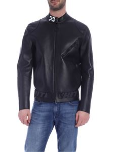 Off-White - Leather biker in black with logo details