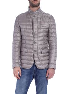 Herno - Down jacket in pearl gray with logo
