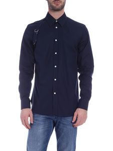 Alexander McQueen - Shirt in blue with decorative strap