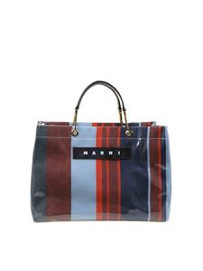 Marni - Glossy Grip shopping bag in blue and red