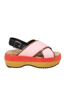 Marni - Pink sandals with color block wedge