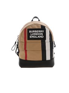 Burberry - Backpack Nico Stripe Logo in Archive Beige