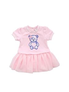 Monnalisa - Pink dress with teddy bear patch