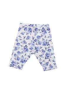 Monnalisa - White leggings with blue floral print