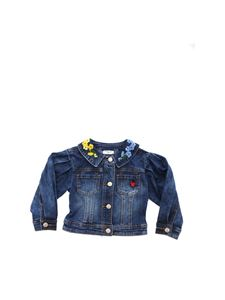 Monnalisa - Blue denim jacket with multicolor embroidery