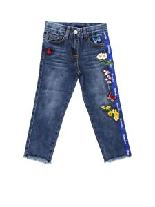 Monnalisa - Blue jeans with floral decorations
