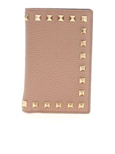Valentino - Rockstud leather wallet in antique pink