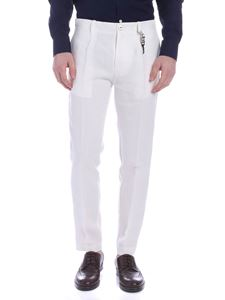 Ribbon Clothing - Pantalone in lino bianco con pince