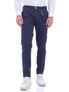 Ribbon Clothing - Pantalone in tessuto diagonale blu con charm