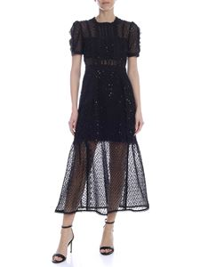 Self-Portrait - Nude effect dress in black tulle with micro sequins