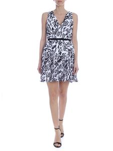 Self-Portrait - White pleated mini dress with black animal print