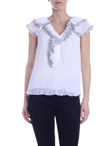 See by Chloé - White pleated top with ruffles