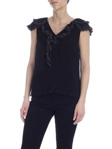 See by Chloé - Black pleated top with ruffles