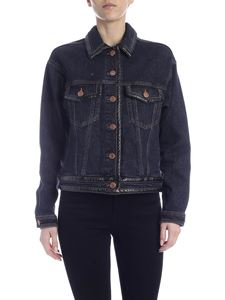 See by Chloé - Black denim jacket with leather effect details