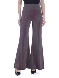 M Missoni - Flared pants in lamè plum and acid green