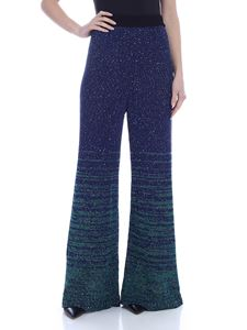 M Missoni - Sequins palazzo pants in blue and green