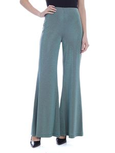 M Missoni - Lamé flared pants in sage green
