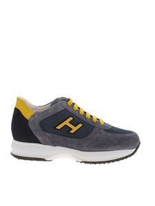 Hogan - Sneakers New Interactive blu denim e giallo