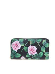 Dolce & Gabbana - Tropical Rose Print wallet zip around in black