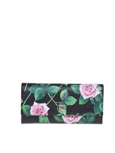 Dolce & Gabbana - Tropical Rose Print wallet in black