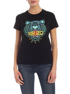 Kenzo - Tiger print black T-shirt in light blue and green