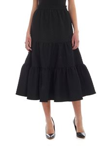 MSGM - Diamond pattern flounce skirt in black