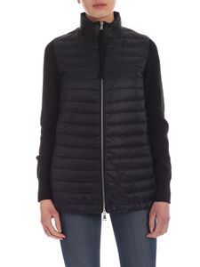 Moncler - Long black cardigan with knit sleeves