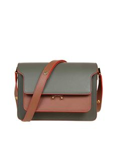 Marni - Trunk bag in green and brick color leather