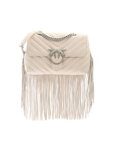Pinko - Love Puff Fringes bag in ivory color