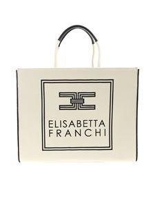 Elisabetta Franchi - Embroidered logo canvas bag in cream color