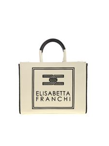 Elisabetta Franchi - Canvas handbag in cream color