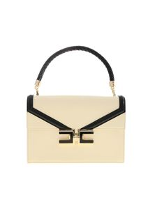 Elisabetta Franchi - Metal logo handbag in cream color