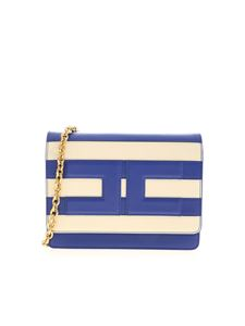 Elisabetta Franchi - Stripes shoulder bag in electric blue and cream
