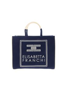 Elisabetta Franchi - Canvas handbag in blue