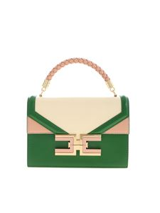 Elisabetta Franchi - Metal logo handbag in green and cream