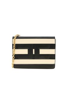 Elisabetta Franchi - Striped shoulder bag in black and cream