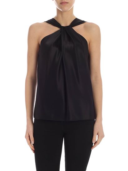 Theory - Cross neckline top in black