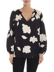 Theory - Printed silk blouse in black